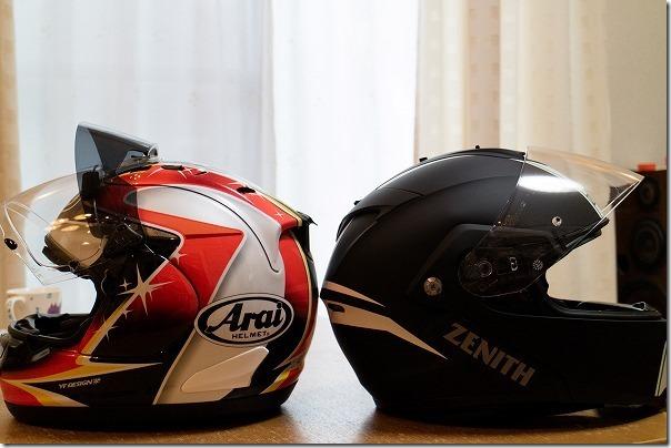 RX-7RR5プロシェードとYJ-19のヘルメット比較