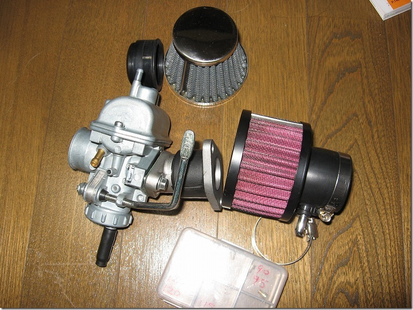 APE100のキャブ交換に準備した部品,PC20,パワーフィルター