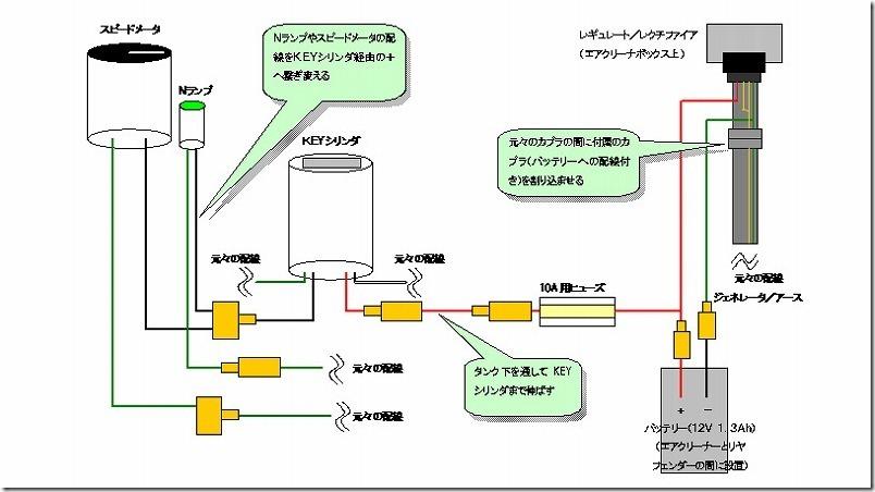 APE100バッテリー取り付け配線図