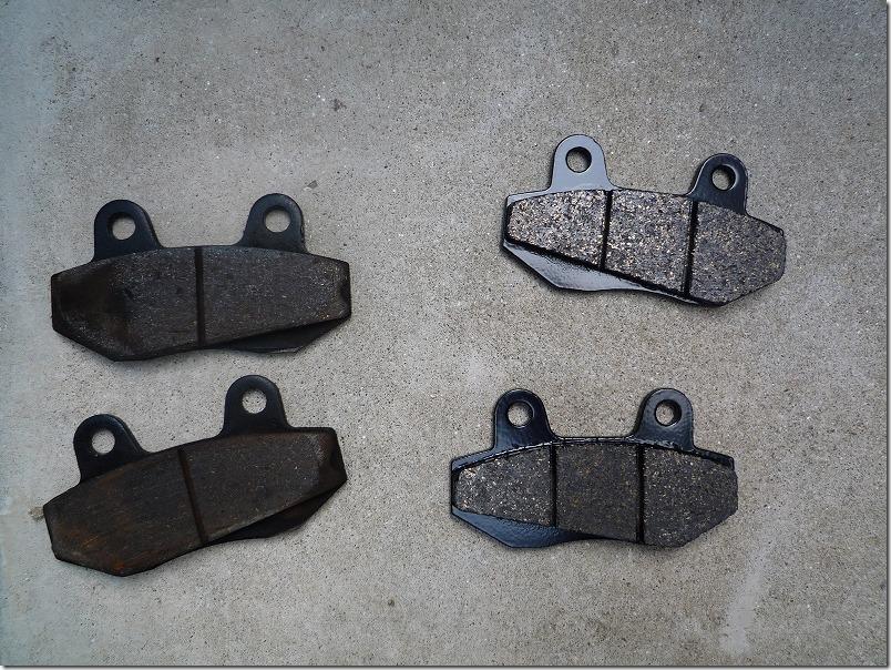 左が台湾製のキッドについてたブレーキパッド、右がSBSの今回購入したブレーキパッド