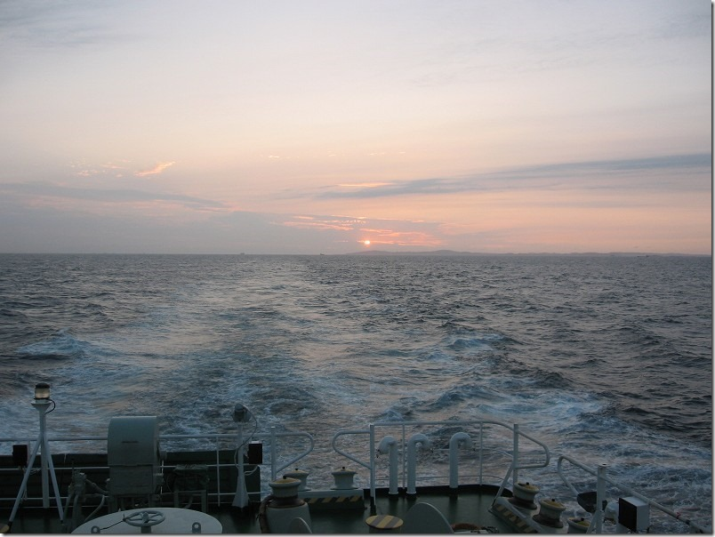 壱岐ツーリング、フェリーからの夕日
