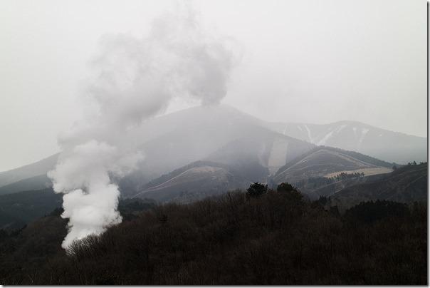 豊礼の湯の家族風呂から見た涌蓋山