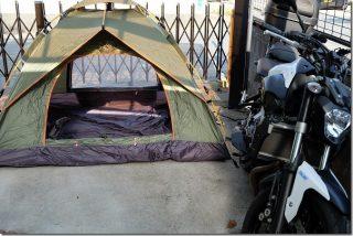 バイクのテント兼家族キャンプ用(ワンタッチテント)
