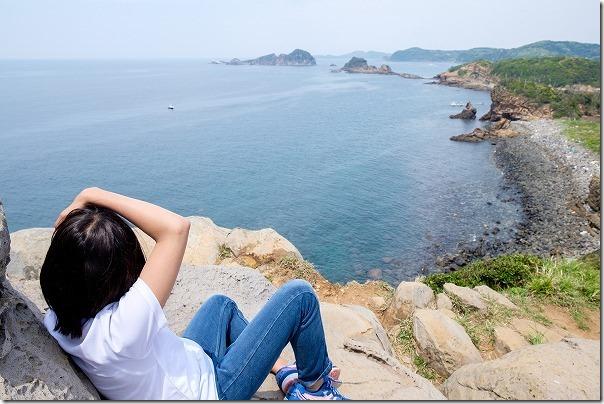 子供と猿岩からの眺め、壱岐