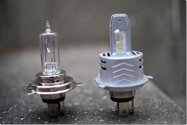 LIMEY,LED,ヘッドライト,H4をハロゲンランプと比較