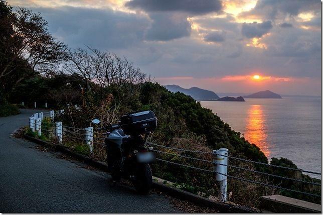 2019、MT-07ラストラン糸島の夕日