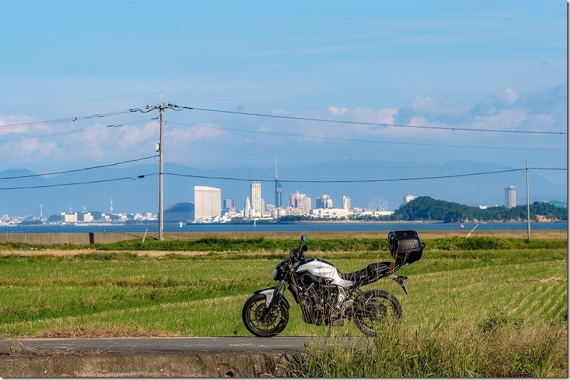 今津海岸から百道(福岡タワー・ドーム)、MT-07ツーリング