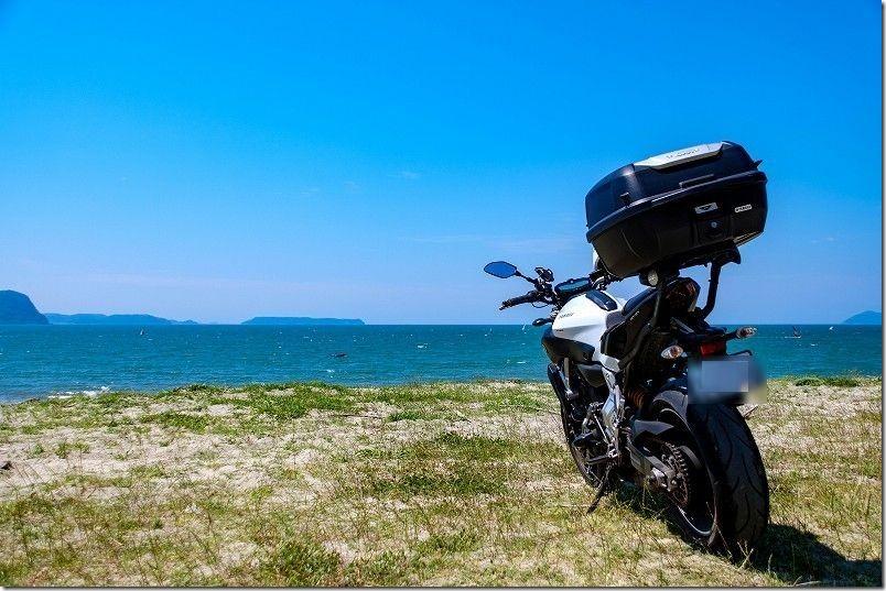 唐津、浜崎海岸ツーリング、バイク