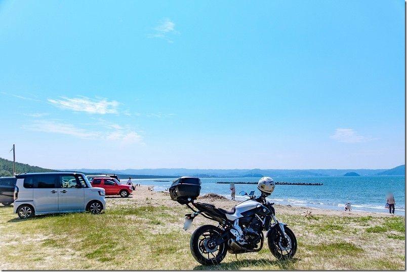 唐津、浜崎海岸ツーリング、海とバイク