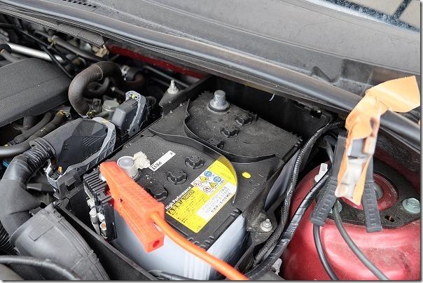 プレマシーのバッテリー交換(Q-85)マイナス端子