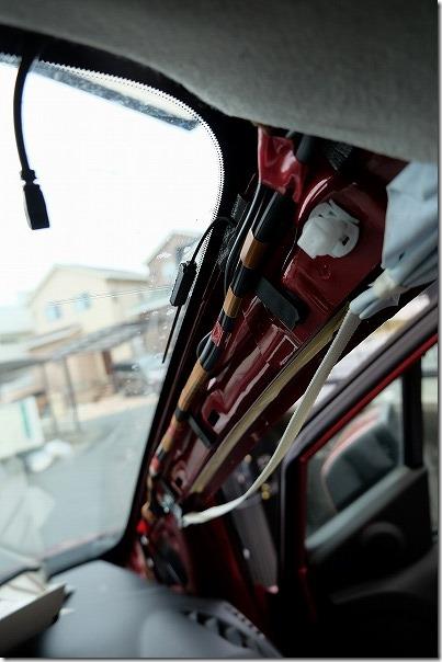 プレマシーへドライブレコーダーの配線固定