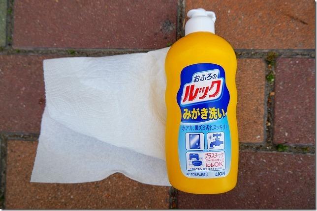 タントのヘッドライト磨き第一弾おふろのルックみがき洗い