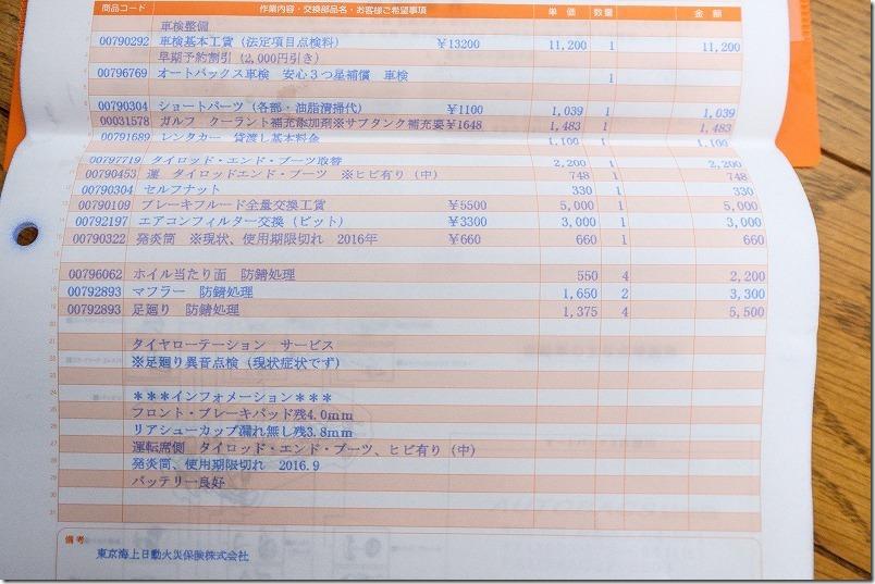 タント、7年目の車検の費用・料金、交換部品